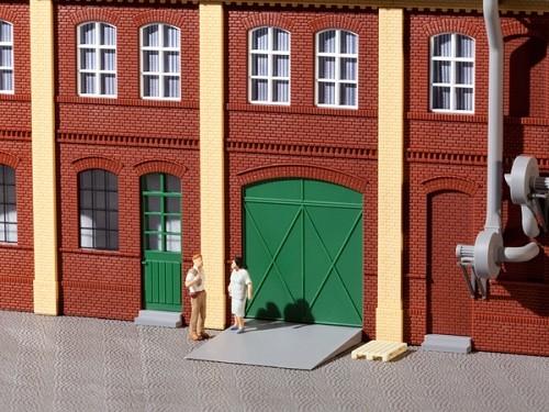 Auhagen 80250 H0-BauKastenSystem / Bauteile: Tore und Türen grün, Stufen, Rampen