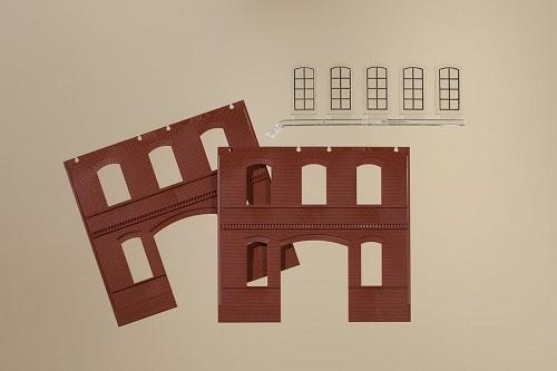 Auhagen 80523 H0-BauKastenSystem / Bauteile: Wände 2391C rot, Industriefenster L