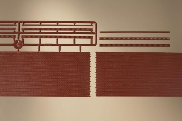 """Auhagen 43658 TT 2-Dekorplatten, """"Ziegelmauern mit Zahnfriesvarianten"""" (verpackt)"""