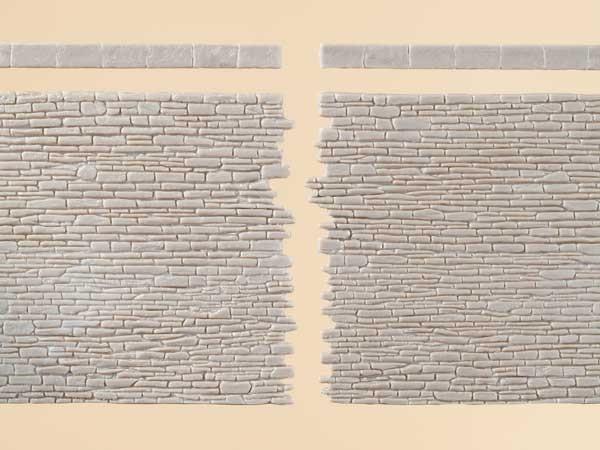 """Auhagen 42649 H0/TT 2-Dekorplatten, """"Steinmauern mit Abschlusssteinen"""" (verpackt)"""