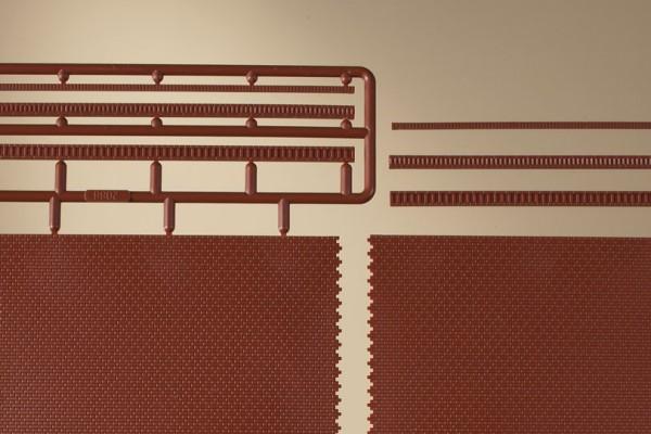 """Auhagen 44630 N 4-Dekorplatten, """"Ziegelmauern mit Zahnfriesvarianten"""" (verpackt)"""