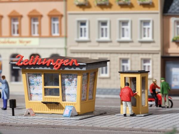Auhagen 12340 H0/TT-Modellbausatz, Zeitungskiosk mit Telefonzelle