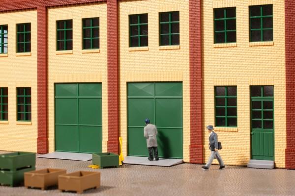 Auhagen 80256 H0-BauKastenSystem / Bauteile: Tore und Türen grün, Stufen, Rampen