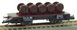 PSK 1742 TT-Flachwagen beladen mit Radsätzen Ep. III, eingestellt bei der DR