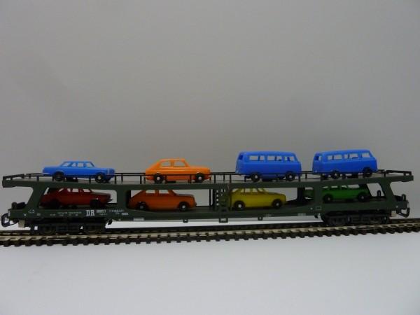Krüger-TT-Modellbahn 9318 TT-Autotransportwagen mit Fahrzeuge, Ep. IV, eingestellt bei der DR
