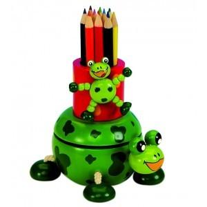 Spieluhr, Art.No. 43738, Frosch mit Stiftebox