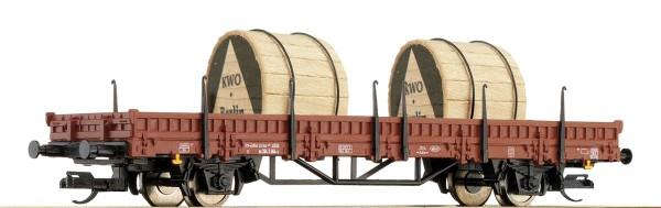 Tillig 14755 TT-Rungenwagen mit 2 Kabelrollen Ep. IV, eingestellt bei der DR
