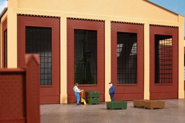 Auhagen 80530 H0-BauKastenSystem / Bauteile: Wände 2578D rot, Industriefenster P