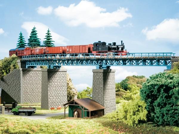 Auhagen 13325 TT-(Modellbausatz), Stahlbrücke im Bogen