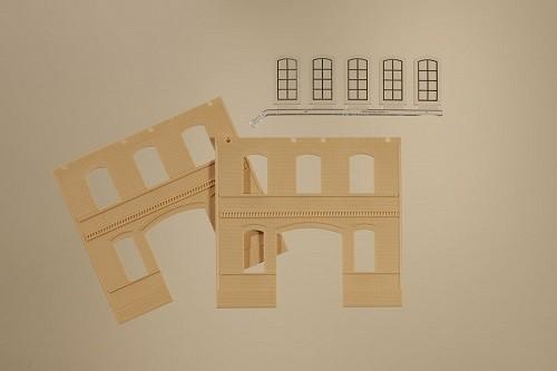 Auhagen 80623 H0-BauKastenSystem / Bauteile: Wände 2391C gelb, Industriefenster L
